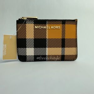 Michael Kors Jet Set Coin Pouch in Marigold Plaid